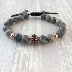 Bracelet micro pave Zircon bead and gray jasper (Man Shamballa or rose)