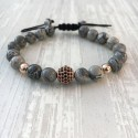 Bracelet micro pave Zircon bead and gray jasper (Man Shamballa or rose)