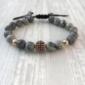 Bracelet perle pavée de Zircon et jaspre (Homme Shamballa or rose)