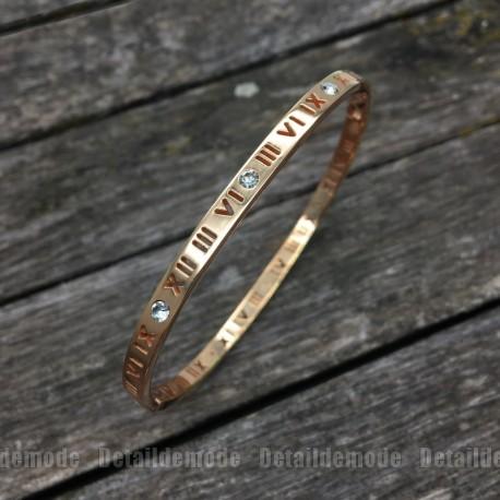 """Bracelet Jonc """"Chiffre romain"""" 4mm acier inoxydable"""