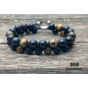 Bracelet DOUBLE Perle Onyx et Œil de tigre (homme shamballa mala)
